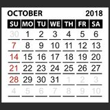 Calendar sheet October 2018. Simple style. Week starts from sunday of the red color, vector easy to edit Royalty Free Stock Photo