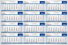 2018 calendar sheet office Stock Photos