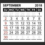 Calendar sheet September 2018. Simple style. Week starts from sunday of the red color, vector easy to edit Royalty Free Stock Images