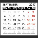 Calendar sheet September 2017. Saturday and Sunday the weekend of the red color, vector easy to edit Royalty Free Stock Image