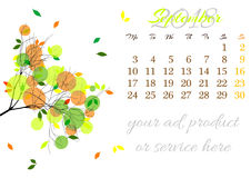 Calendar sheet for 2018 September with tree branch Royalty Free Stock Photo