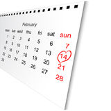 Calendar sheet for Valentine's Day Stock Photos