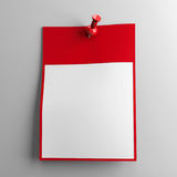 Calendar sheet on a wall. Blank calendar sheet with red pin on grey background, three-dimensional rendering, 3D illustration Stock Images