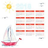 Calendar 2018 with Ships in the sea. Watercolor painting Stock Images