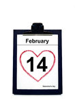 Calendar showing date of Valentine's Day Stock Image