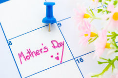 Calendar showing mothers day. Stock Photos