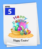 A calendar showing the 5th of April. On a blue background Royalty Free Stock Photos