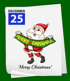 A calendar showing the 25th of December. On a green background Royalty Free Stock Photo