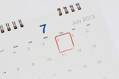 Calendar showing 4th of july Stock Images