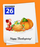A calendar showing the 26th of November royalty free illustration