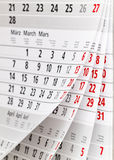 Calendar sidan Royaltyfria Foton