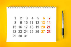 Calendar sidan arkivfoto