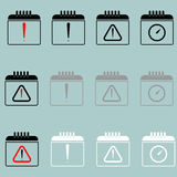 Calendar with sign attention clock icon. Stock Image
