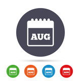 Calendar sign icon. August month symbol. Royalty Free Stock Images