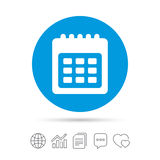 Calendar sign icon. Date or event reminder. Calendar sign icon. Date or event reminder symbol. Copy files, chat speech bubble and chart web icons. Vector Stock Photography
