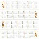 Calendar 2016 2017 2018 2019 Royalty Free Stock Images