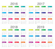 Calendar 2016 2017 2018 2019. Simple calendar for 2016 2017 2018 2019 Stock Photo