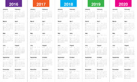 Calendar 2016 2017 2018 2019 2020. Simple calendar for 2016 2017 2018 2019 2020 vector illustration