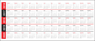Calendar 2016 2017 2018 2019 2020 Royalty Free Stock Image