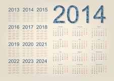 Calendar 2014. Simple calendar on beige background Stock Images
