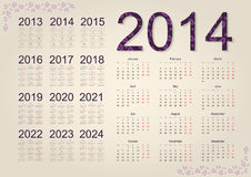 Calendar 2014. Simple calendar on beige background Royalty Free Stock Images