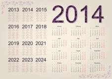 Calendar 2014. Simple calendar on beige background vector illustration