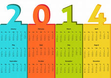 2014 calendar. Simple 2014 calendar in bright colors of blue, red, green and yeloow royalty free illustration