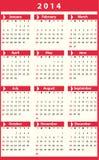 Calendar 2014 Stock Photography