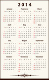 Calendar 2014. Calendar for 2014, simple, clean and elegant vector illustration