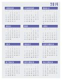 2019 Calendar Week Starts on Sunday. 2019 Calendar Simple Clean Week Starts on Sunday letter page size with gray background and blue headers stock illustration