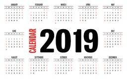 2019 Calendar Simple Clear Design Template. Vector Illustration Week Start from Sunday Royalty Free Stock Photos