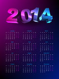 Calendar 2014. Simple calendar in colorful background Vector Illustration