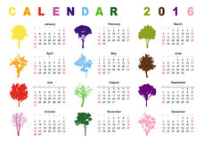 Calendar 2016 - simple colorful trees. Calendar 2016 (week starts on Sunday Royalty Free Illustration