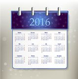 2016 calendar simple design. ART vector date template month Stock Photo