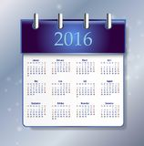 2016 calendar simple design. ART vector date template month Stock Images