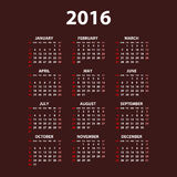 2016 calendar simple design date color Stock Photography