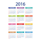 2016 calendar simple design vector date template month. 2016 calendar simple design ART vector date  template month Stock Photos