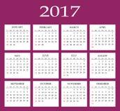 Calendar 2017. Simple flat design vector template Stock Photos