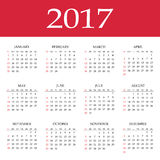 Calendar 2017. Simple flat design vector template Royalty Free Stock Images