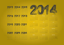 Calendar 2014. Simple calendar on gold background Royalty Free Stock Images