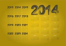 Calendar 2014. Simple calendar on gold background royalty free illustration