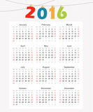 Calendar 2016, simple modern design,  illustration Royalty Free Stock Photography