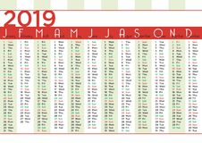 2019 calendar simple months with vertical stripes stock illustration