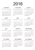 Calendar of 2016 Royalty Free Stock Image
