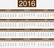 Calendar 2016 simple style for web. And other Royalty Free Stock Photo