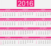 Calendar 2016 simple style for web and other Stock Photography