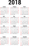 Calendar 2018 Stock Image
