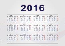 Calendar 2016. Simple calendar template for 2016 Royalty Free Illustration