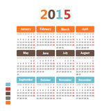 Calendar 2015. Stock Photos