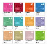 Calendar for 2016. Simple Vector Template. 2016 calendar simple design Royalty Free Stock Photo